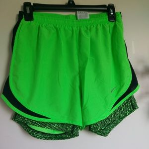 Nike neon double layer shorts